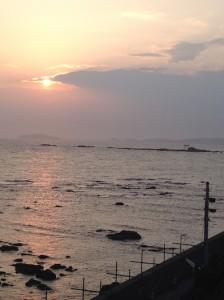 葉山_合宿_夕陽と海